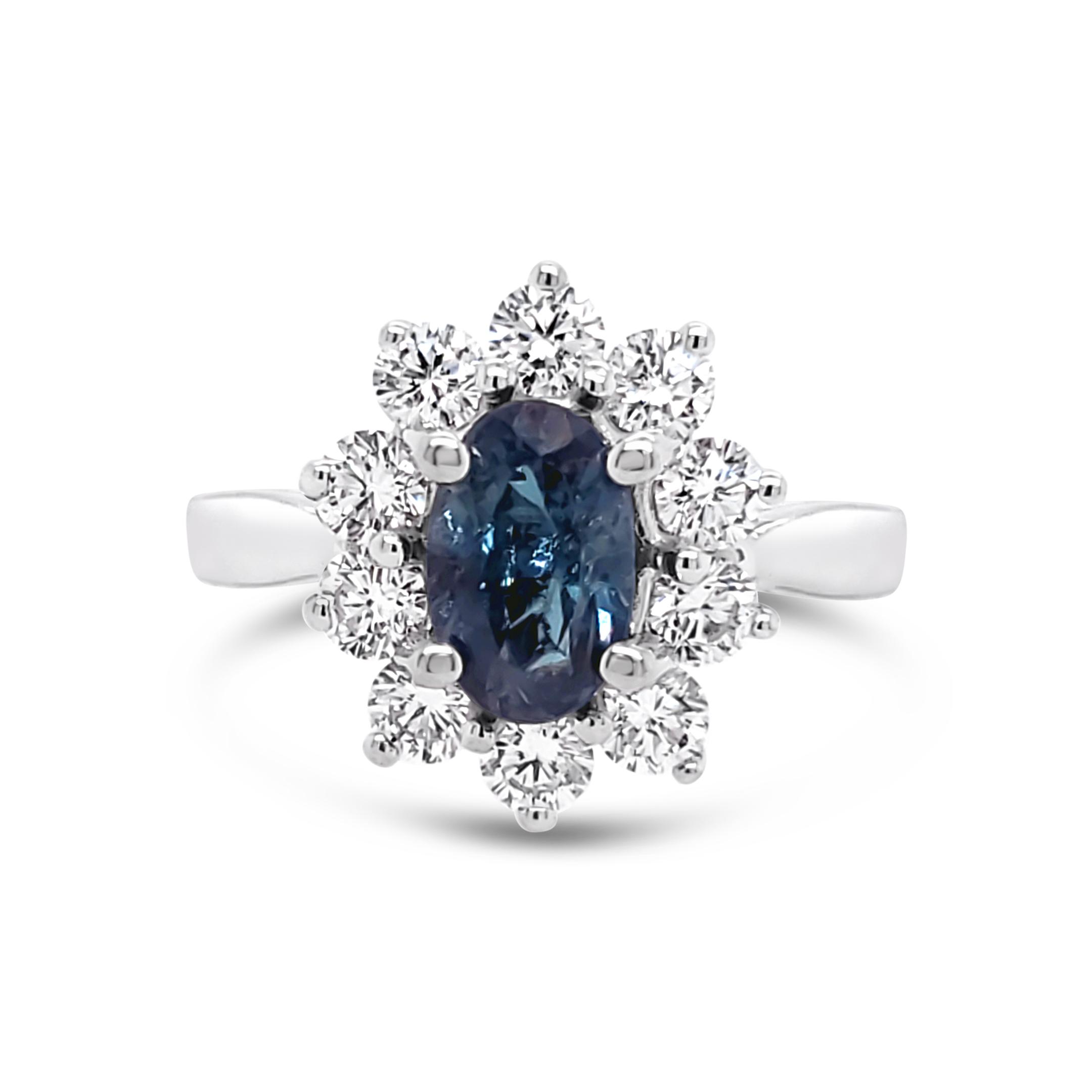 ALEXANDRITE AND DIAMOND RING  ENGAGEMENT RING DESIGN