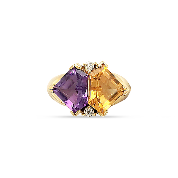 AMETHYST / CITRINE DIAMOND RING