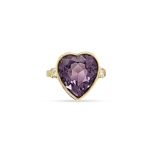 1950's AMETHYST AND DIAMOND HEART RING