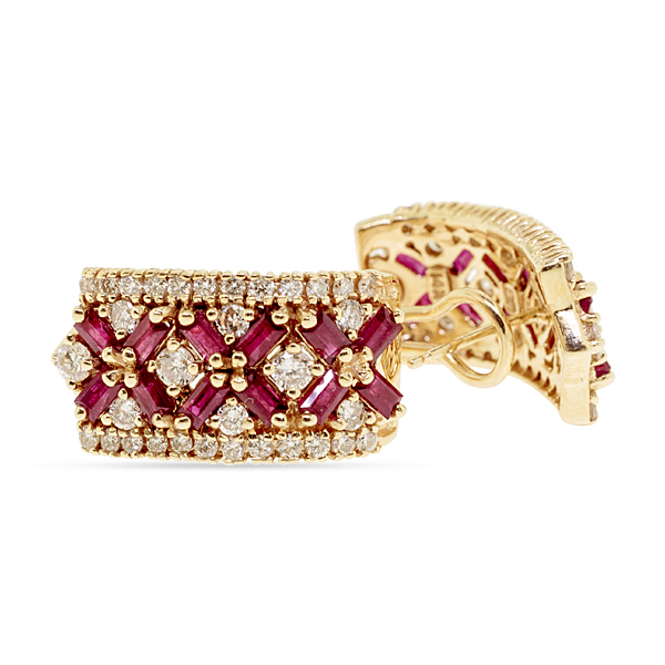 1980'S RUBY AND DIAMOND EARRINGS  14KT YGOLD