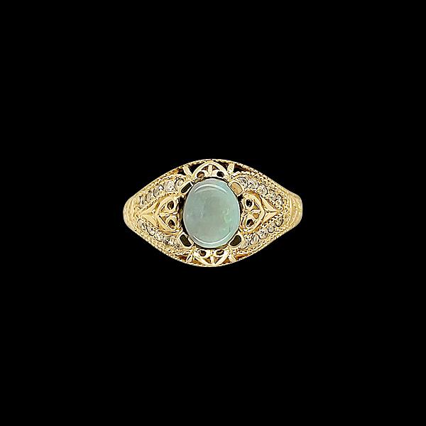AUSTRALIAN BLACK OPAL AND DIAMOND RING