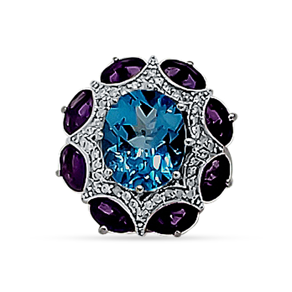 BLUE TOPAZ, AMETHYST, AND DIAMOND RING