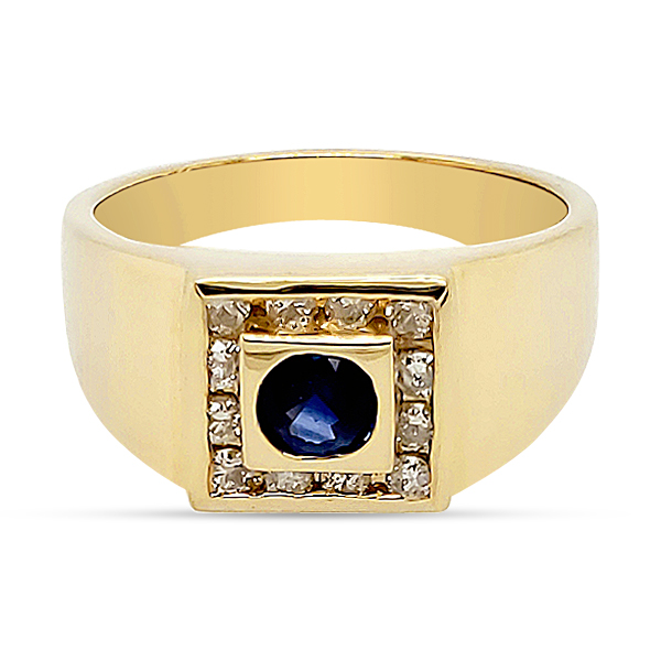 BLUE SAPPHIRE AND DIAMOND RING  GENTS