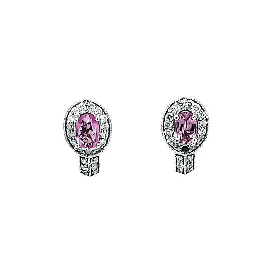 PINK SAPPHIRE AND DIMOND EARRINGS