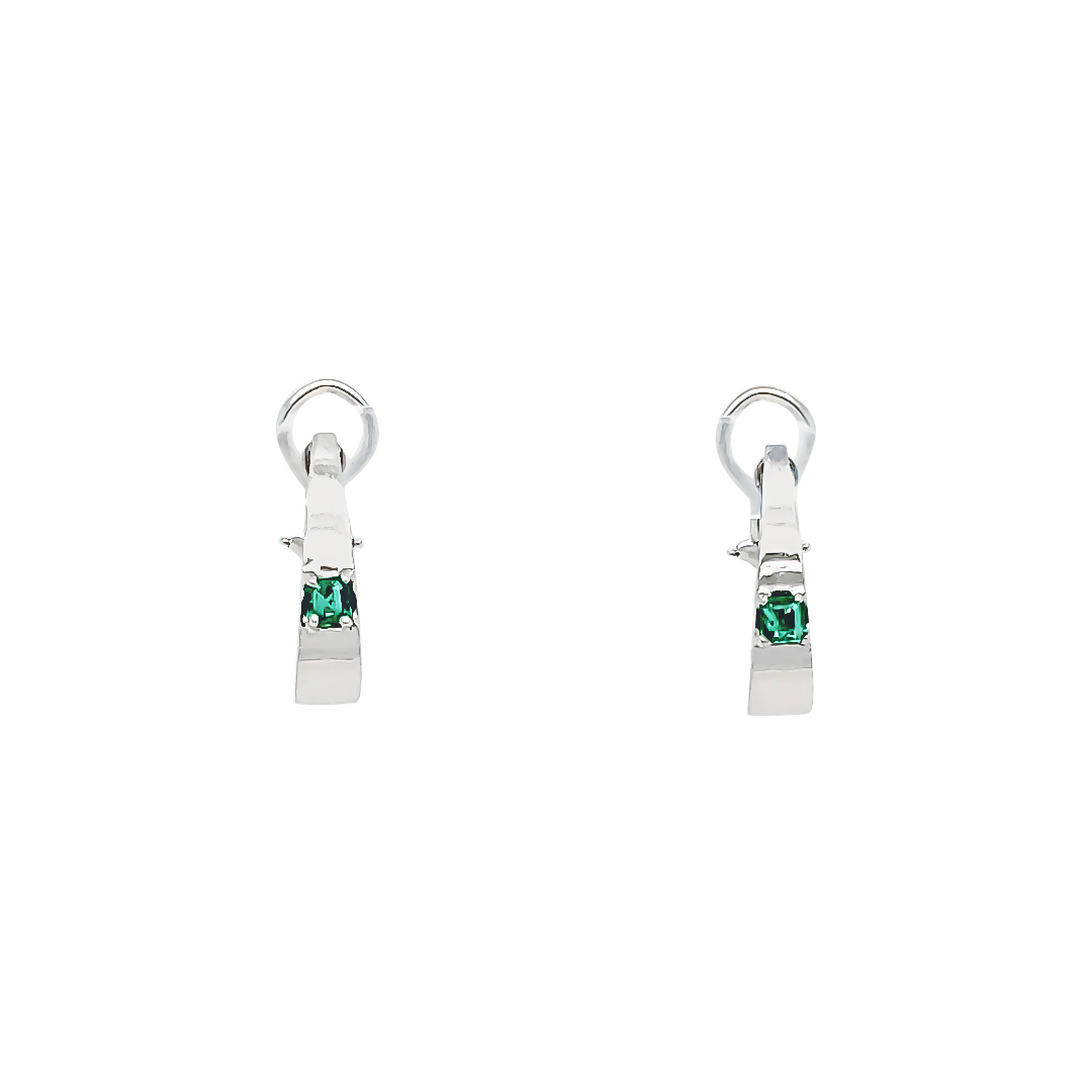EMERALD AND GOLD EARRINGS  ESTATE  CLIP AND POST STYLE