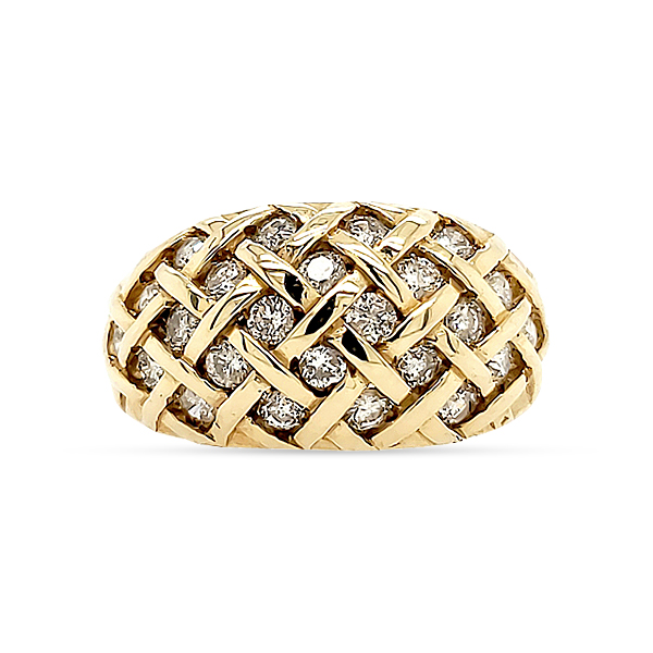 14KY GOLD AND DIAMOND RING  DOME STYLE