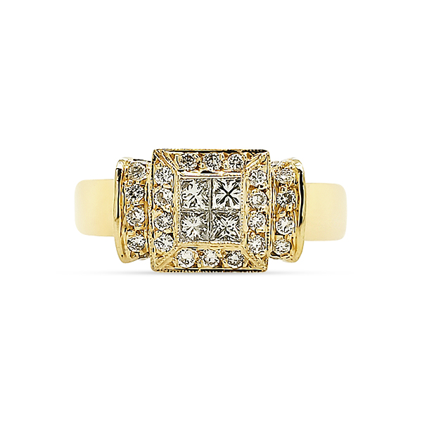 BEAUTIFUL DIAMOND AND 18KY GOLD RING